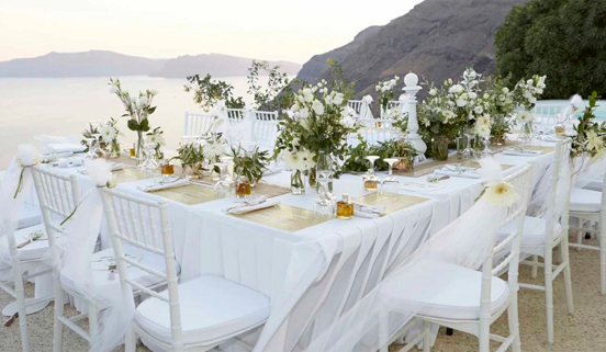 Wedding arrangements on Santorini Island